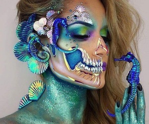 makeup, Halloween, and mermaid image