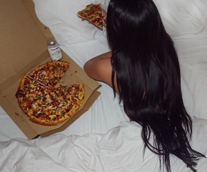 pizza, hair, and food image