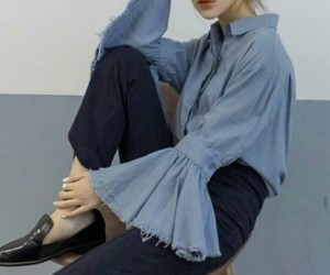 black jeans, blouse, and jeans image