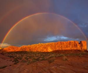 desert, landscape, and rainbow image