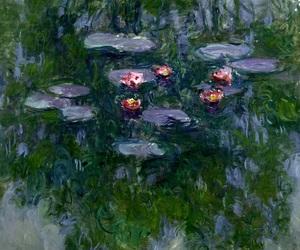 art, waterlilies, and claude monet image