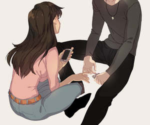 anime, couple, and v image