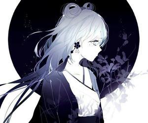 anime girl, anime flower, and anime sad image