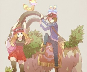anime boy, serena (pokémon), and fennekin image