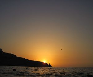 blue, Greece, and sunset image