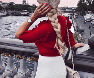 blonde, paris, and red image