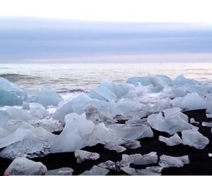 beach, iceland, and ice image