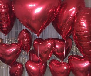 balloons, gift, and hearts image