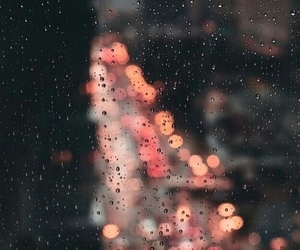 light, rain, and city image