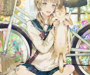 anime, cat, and kawai image
