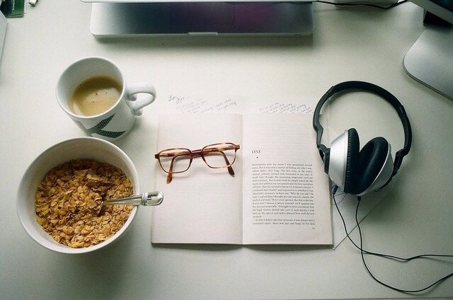 book, music, and breakfast image