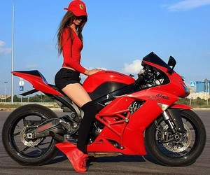 girl, motorbike, and red image