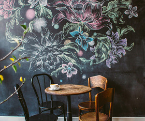 flowers, art, and coffee image