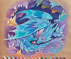 art, blue, and dragon image