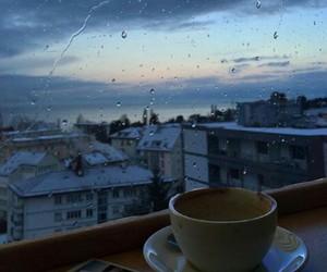coffee, rain, and sky image