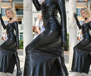 leatherskirt, leatherdress, and leatherboots image