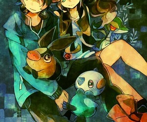 anime girl, snivy, and pokemon image