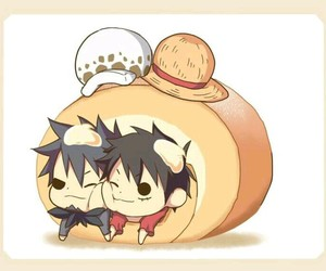 Law, one piece, and luffy image