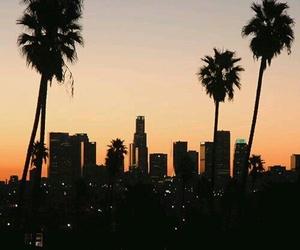 city, sunset, and california image