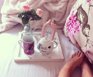 bed, flowers, and girly image