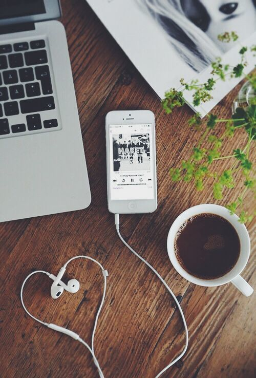 coffee, iphone, and music image