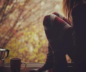 autumn, girl, and coffee image