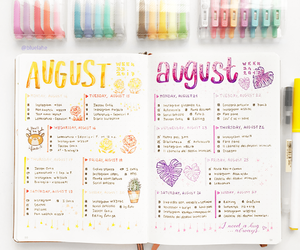 August, blue, and cursive image