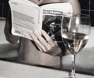book, girl, and wine image