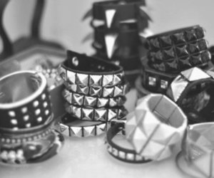 bracelet, black and white, and studs image