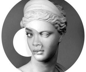 rihanna, art, and black and white image