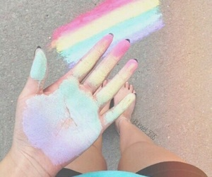 rainbow, art, and colors image