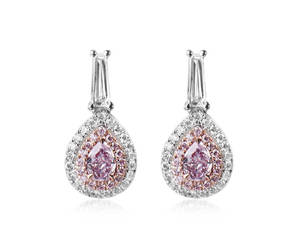 etsy, pink earrings, and diamond jewelry image