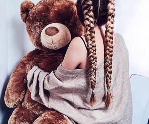 girl, hair, and bear image