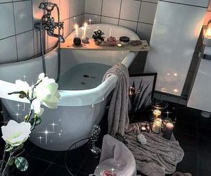 bath, decor, and flowers image