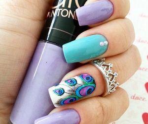 nails, nail art, and purple image