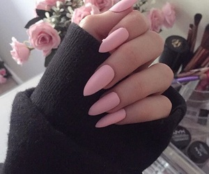pink, nails, and tumblr image
