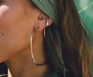 fashion, earrings, and green image