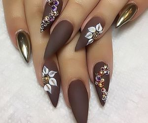 nails, flowers, and brown image