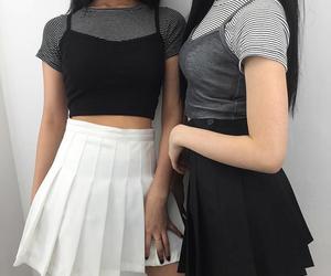girl, skirt, and black image