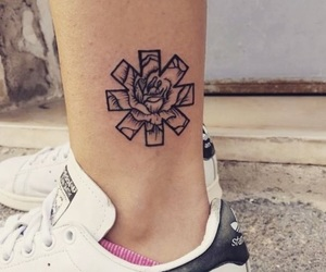 rhcp, rose, and tattoo image