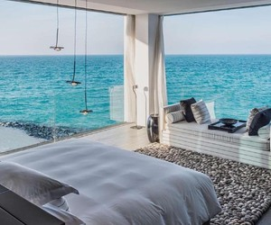 bedroom, view, and beach image