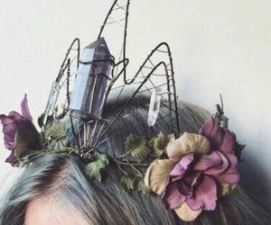 crown, flowers, and crystal image