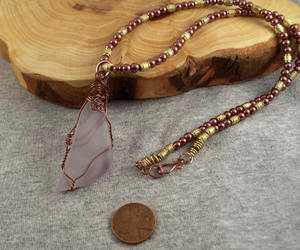 beaded necklace, purple pendant, and beadednecklace image