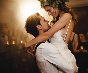 beautiful, bride, and couple image
