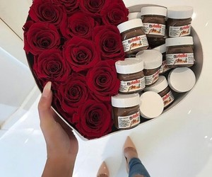 nutella, rose, and chocolate image