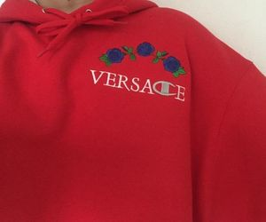 Versace, red, and hoodie image