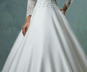 gown, wedding, and lace image