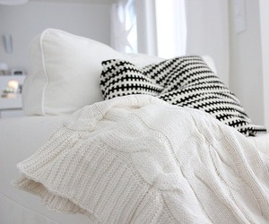 bed, knitting, and plaid image