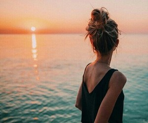 girl, sunset, and beach image