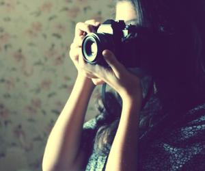 camera, flowers, and girl image